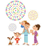 Happiness family to see fireworks. I watch the fireworks of the summer night sky in parent and child Royalty Free Stock Image