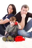 Happiness family on the white background Royalty Free Stock Photos
