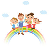 The happiness family who gets on the rainbow Royalty Free Stock Image