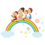 The happiness family who got on the rainbow Stock Photo