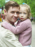 Happiness fatherhood. Happy father playing with daughter stock images