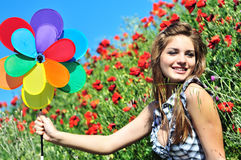Happiness in field Royalty Free Stock Photo
