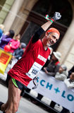 Happiness from finishing Prague Marathon Royalty Free Stock Photography
