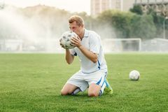 Football player participates in the World Championship royalty free stock photos