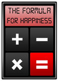 Happiness formula. Calculating the formula for happiness Royalty Free Stock Photo