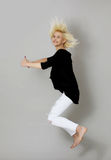 Happiness and freedom - jumping. Stock Photos