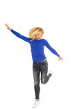 Happiness and freedom - jumping. Royalty Free Stock Photos