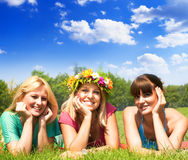 Happiness friends. Enjoyment in beautiful day Royalty Free Stock Image