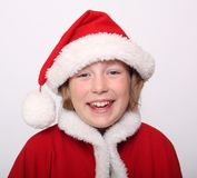 Happiness Girl in Christmas bonnet Stock Photos