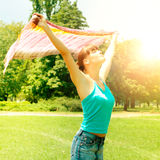 Happiness girl enjoment nature royalty free stock photo