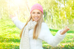 Happiness girl enjoment nature stock photography