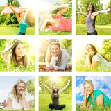 Happiness girl enjoment nature stock images