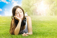 Happiness girl enjoying nature Stock Image