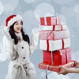 Happiness girl get christmas presents Stock Images