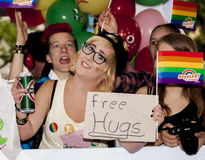 Happiness girl offer free hugs Royalty Free Stock Photos
