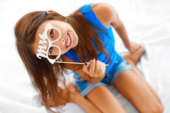 Happiness. Girl posing with glasses. Stock Image