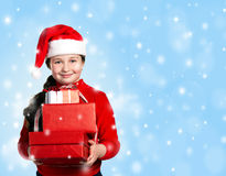 Happiness girl with presents Stock Photos