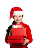 Happiness girl with presents Royalty Free Stock Photos
