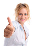 Happiness girl shows OK. On white Royalty Free Stock Photo