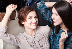 Happiness of girlfriends after shopping. Happiness of two girlfriends after shopping Stock Photography