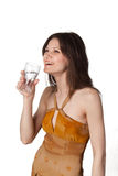 Happiness in the glass of sparkling water Royalty Free Stock Photography