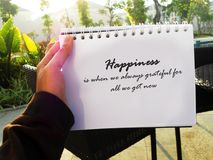 Happiness with grateful quote stock photos