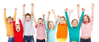 Happiness group children with their hands up. Isolated on white royalty free stock photos
