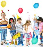 Happiness group of cute and adorable children having party stock photo