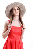 Happiness. Happy summer woman isolated in studio. Energetic fres. Portrait of happy tourist woman in hat on holiday on white backgraund Stock Photos