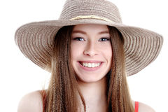 Happiness. Happy summer woman isolated in studio. Energetic fres Stock Photos