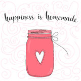Happiness is homemade. inspirational quote. Typography art. Vector phase on pink jar. Lettering for posters, cards design Royalty Free Stock Image