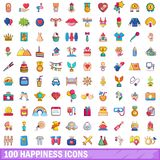 100 happiness icons set, cartoon style. 100 happiness icons set. Cartoon illustration of 100 happiness vector icons isolated on white background stock illustration