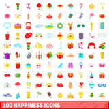 100 happiness icons set, cartoon style. 100 happiness icons set in cartoon style for any design vector illustration Stock Images