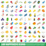 100 happiness icons set, isometric 3d style Stock Image