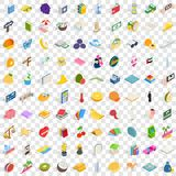 100 happiness icons set, isometric 3d style Royalty Free Stock Photo