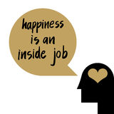 Happiness is an inside job. Quote illustration for self-esteem concept in psychology Royalty Free Stock Photos