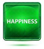 Happiness Neon Light Green Square Button. Happiness Isolated on Neon Light Green Square Button vector illustration