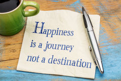 Happiness is journey, not destination. Happiness is a journey, not a destination - handwriting on a napkin with a cup of espresso coffee royalty free stock images