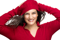 Happiness. Joyful Winter Girl in Red. Beautiful Sm Stock Photo