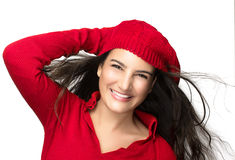 Happiness. Joyful Winter Girl in Red. Flying Hair Royalty Free Stock Image