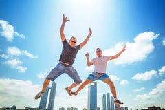 Happiness jump on holidays Royalty Free Stock Photos