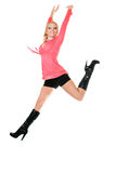 Happiness jumping blond woman Royalty Free Stock Photo