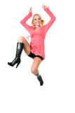 Happiness jumping blond woman Royalty Free Stock Photography