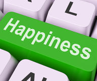 Happiness Key Means Delight Or Joy Stock Photo