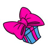 Happiness large pink bow gift cartoon Royalty Free Stock Images
