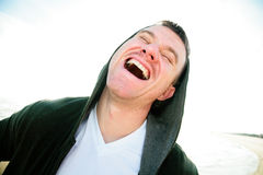 Happiness is Life. A joyful man experiencing freedom, happiness, success Stock Photos