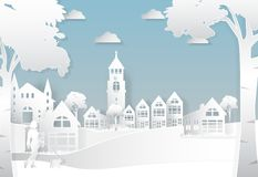 Happiness lifestyle peaceful in the city background, paper art s. Tyle illustration vector illustration