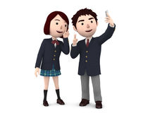 Boy and Girl, uniformed school students. 3D illustration. Happiness lifestyle people, 3D illustration Stock Photos