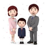 Boy and his parents in elementary school entrance ceremony Cherry blossoms white background. 3D illustration. Happiness lifestyle people, 3D illustration Royalty Free Stock Photo