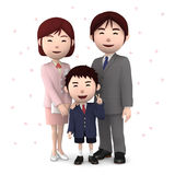 Boy and his parents in elementary school entrance ceremony Cherry blossoms white background. 3D illustration. Happiness lifestyle people, 3D illustration Royalty Free Stock Photography